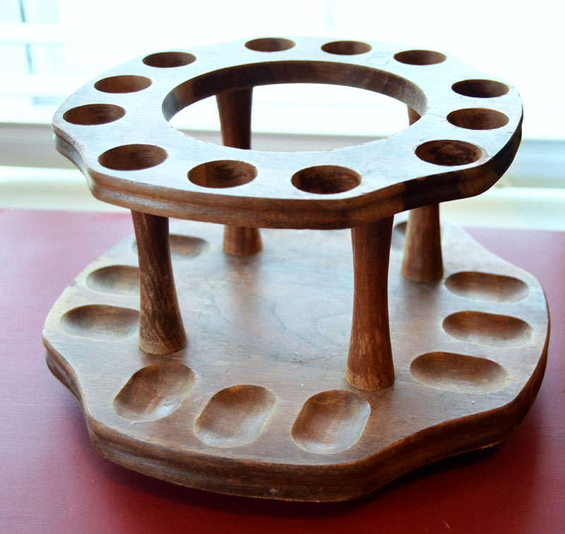 Swap it thrift store item that I received. This is a pipe holder that I need to make into something fabulous. How about a two-tiered stand
