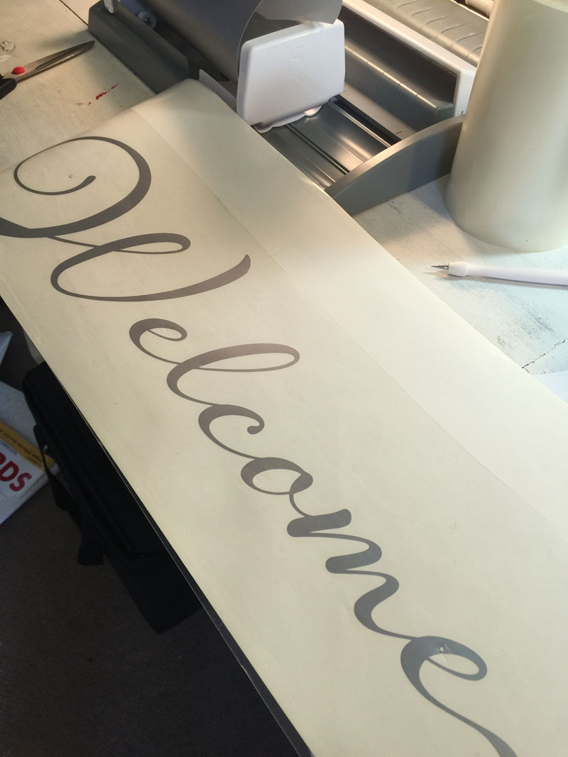 Vinyl Welcome Decal cut with Silhouette Cameo