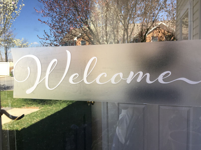 Welcome vinyl decal made with Silhouette® Cameo and Roll Feeder