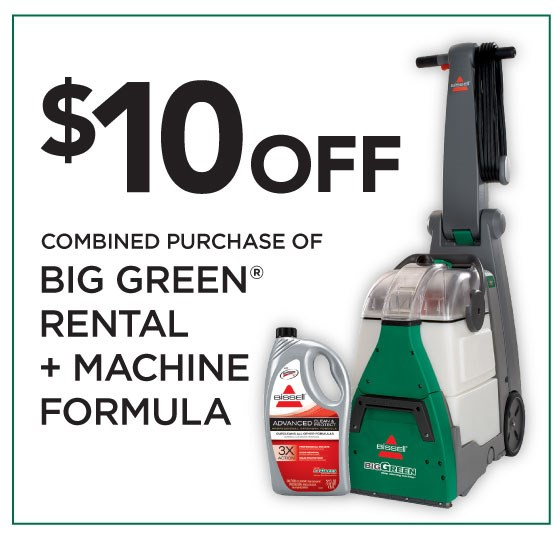 10offbutton plus there more bissell is giving away one free big green rent machine