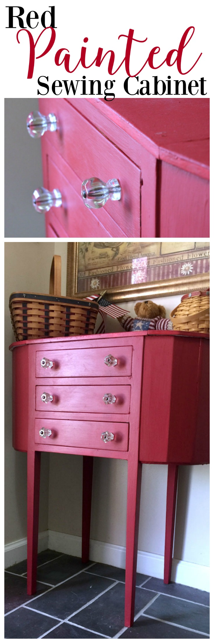 Red Painted Sewing Chest