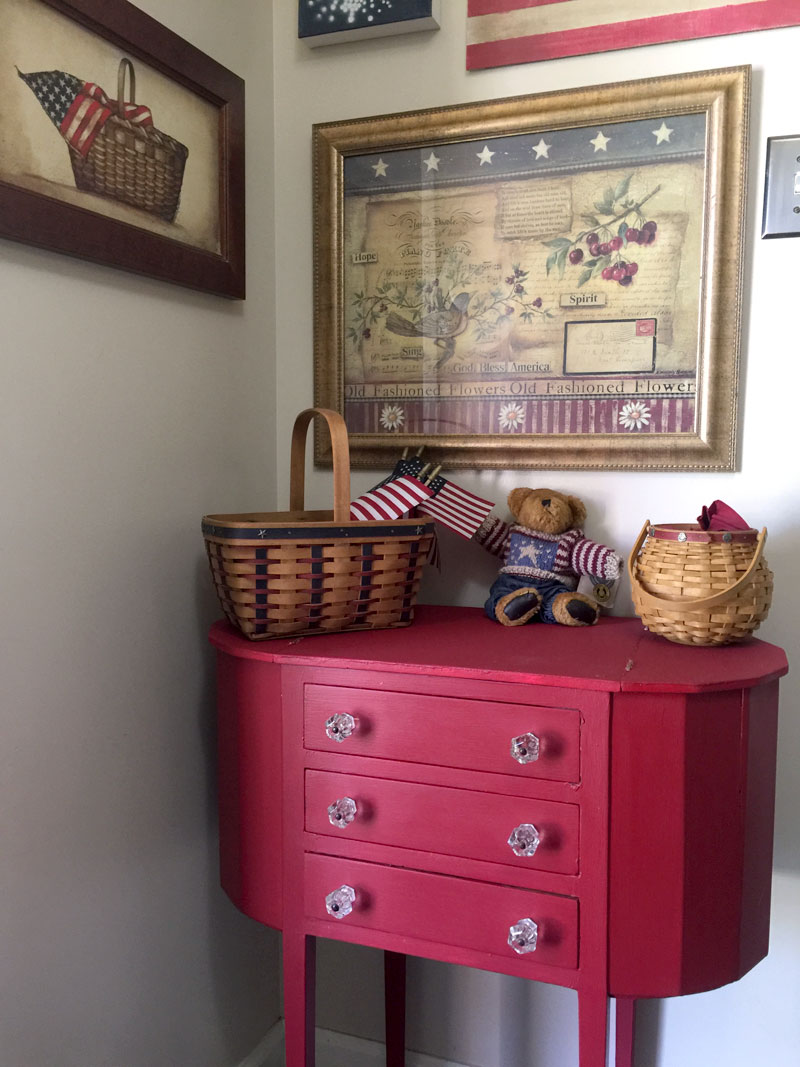 Sewing Cabinet Makeover with red chalky finish paint fits into a red, white and blue vignette