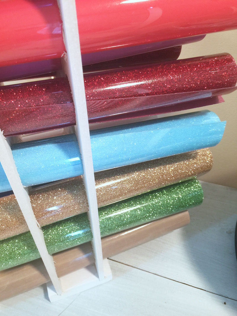 glitter vinyl stored in vinyl storage solution