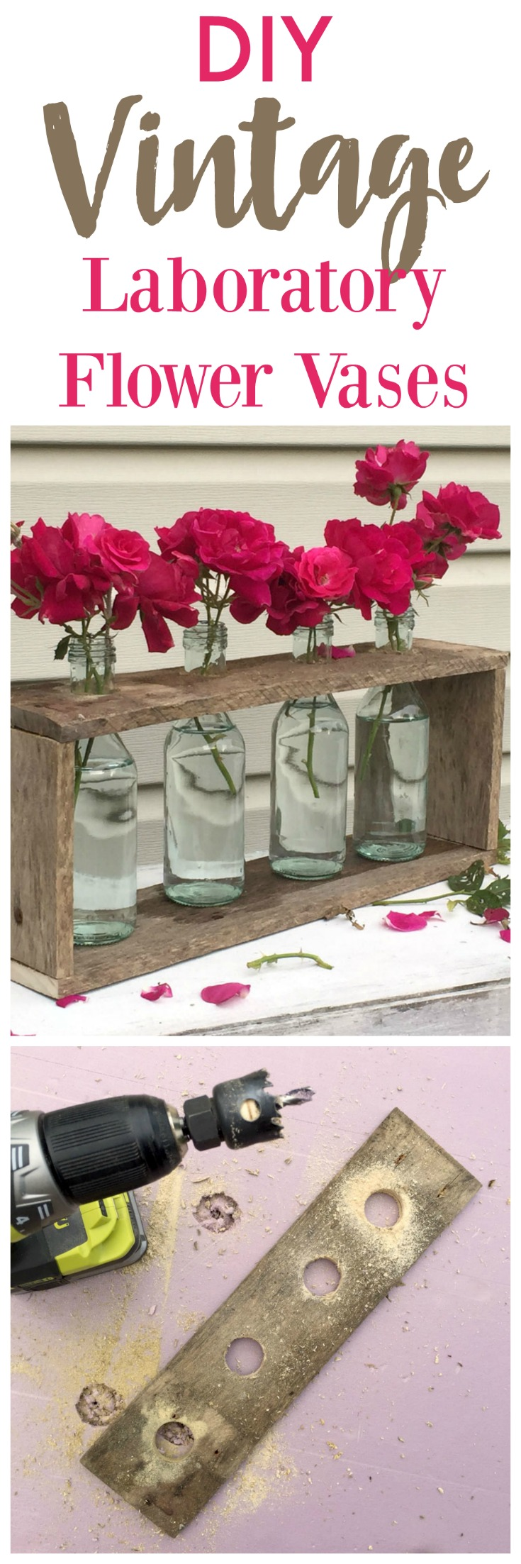 DIY Vintage Laboratory Flower Vases in a wooden rack