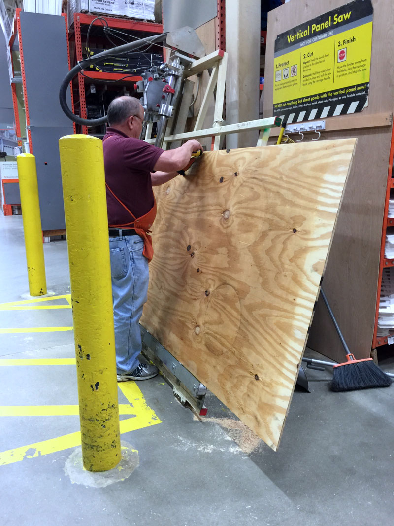 let the home depot cut the wood for making cornhole boards