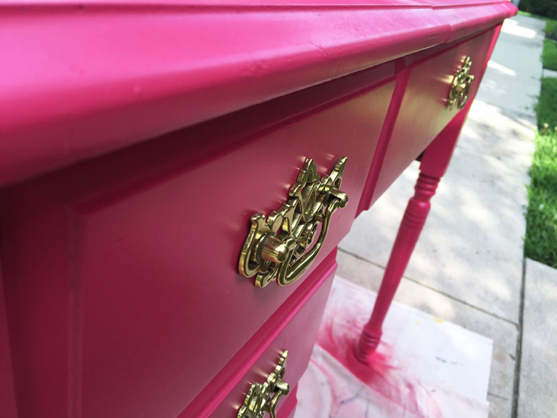close-up-of-sewing-cabinet-painted-with-Amy-Howard-Furniture-Lacquer-in-Begonia