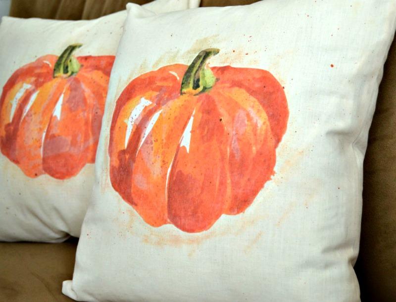 faux watercolor pumpkin pillow cover tutorial