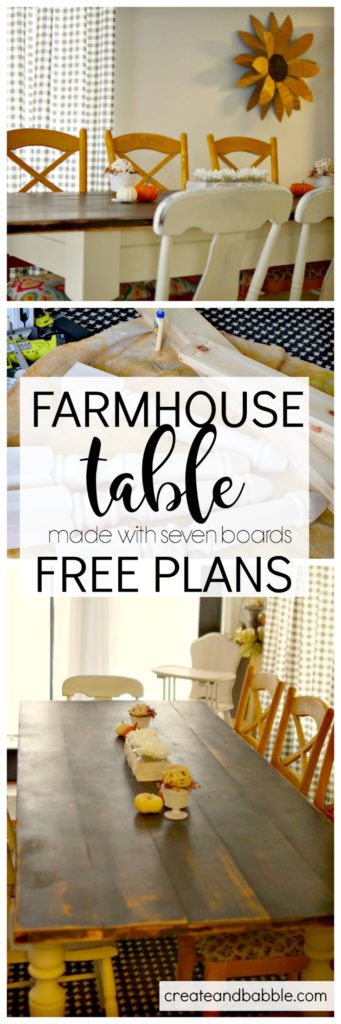 Farmhouse Table made with seven boards free plans
