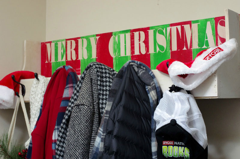 DIY Christmas Coat Rack