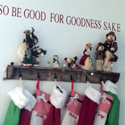DIY Salvaged Wood Christmas Stocking Shelf