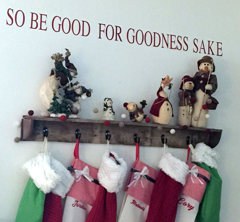 DIY pallet wood Christmas stocking shelf