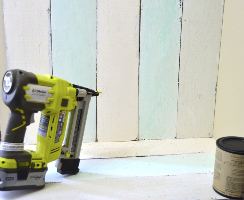 attaching the pallet boards with Ryobi Brad Nailer