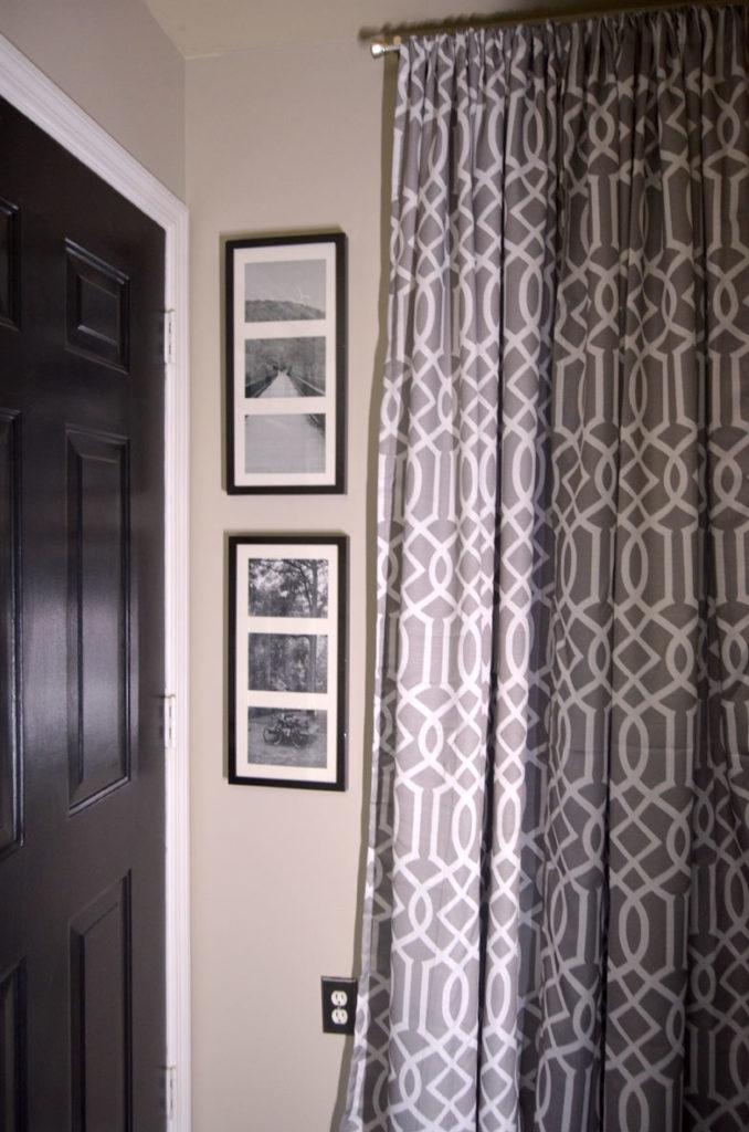 New curtains and framed photos