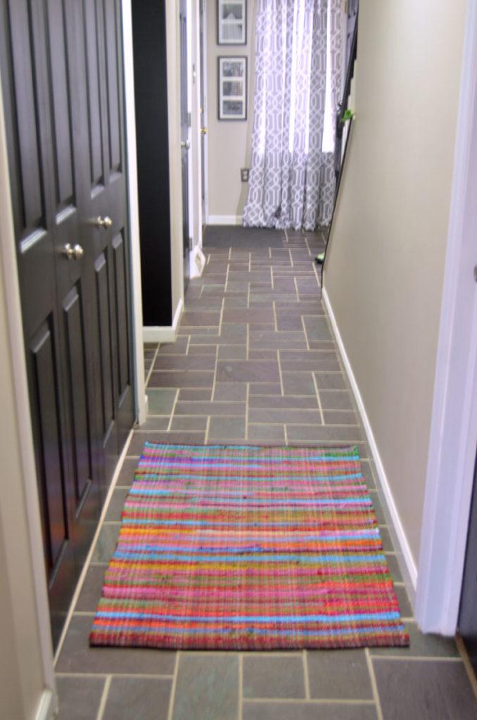 new rug in hallway makeover