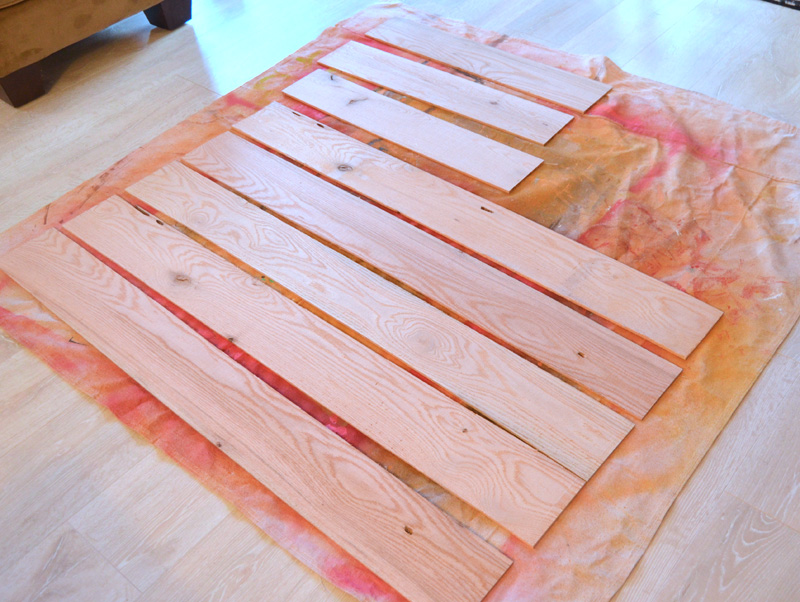 Amy Howard at Home Pallet Wood prepared to paint for DIY Entryway Bench