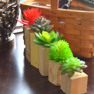 Wooden Vases for Faux Succulents