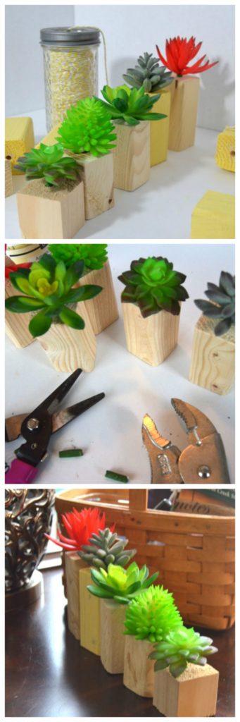 diy wooden vases for faux succulents