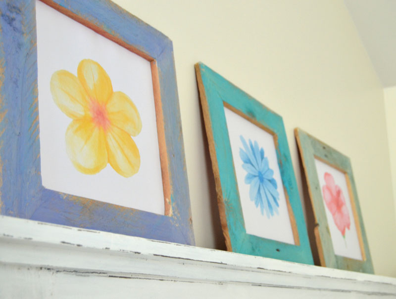 DIY-Pallet-Wood-Framed-Watercolor-Flower-Prints-2