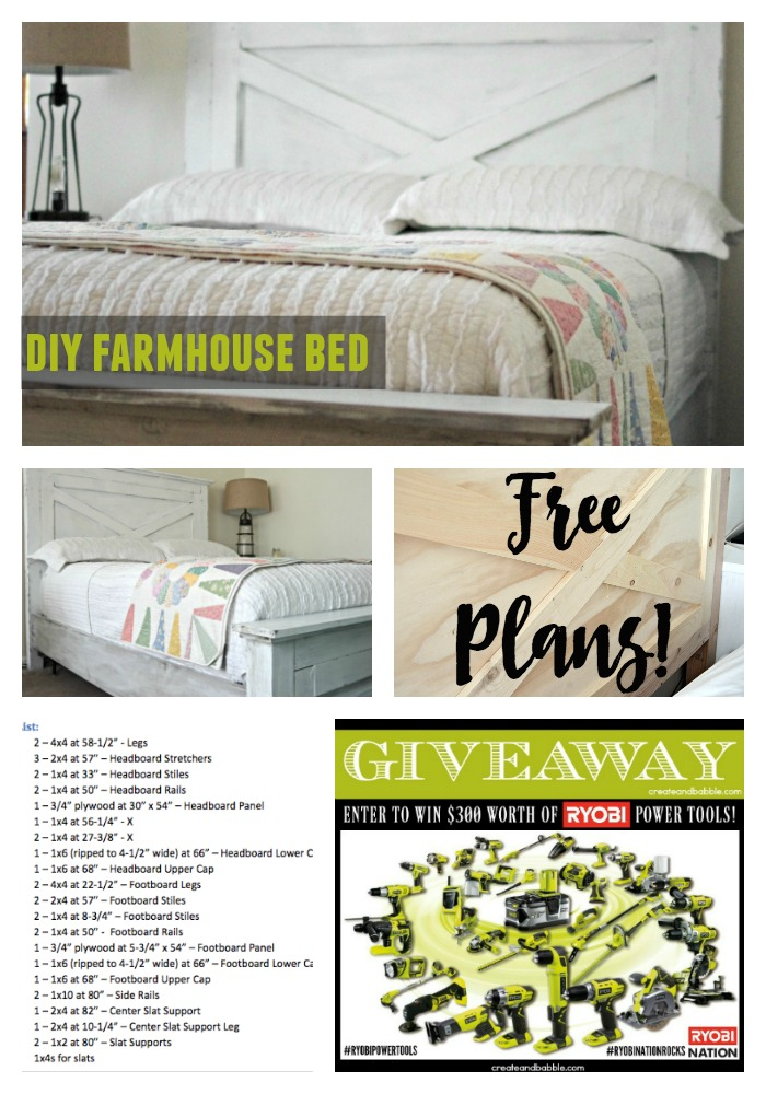 diy farmhouse bed and ryobi power tool giveaway