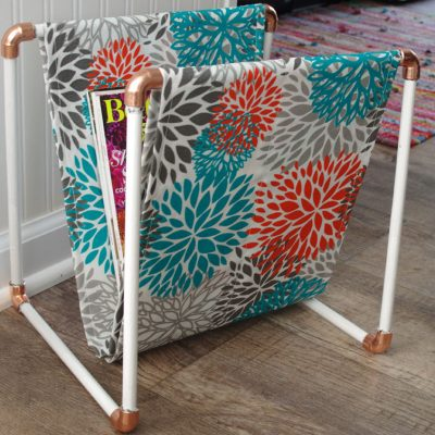 Copper and Wood Magazine Rack
