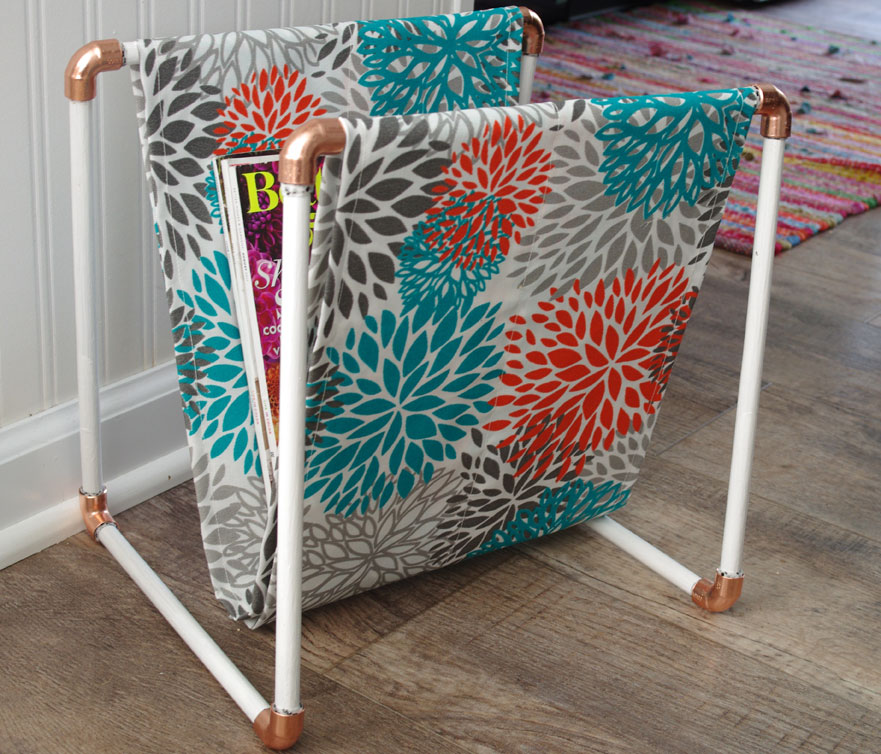 DIY Copper and Wood Magazine Rack