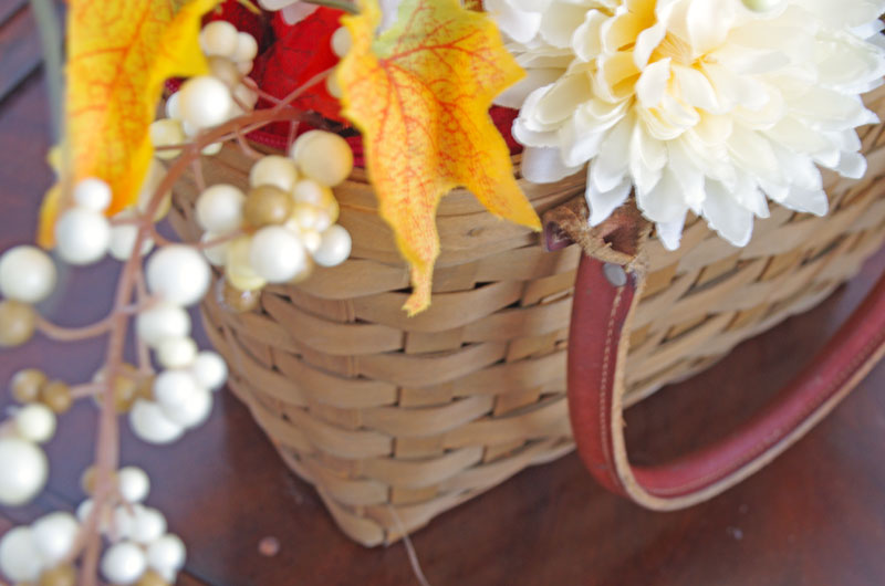 Basket full of fall foliage
