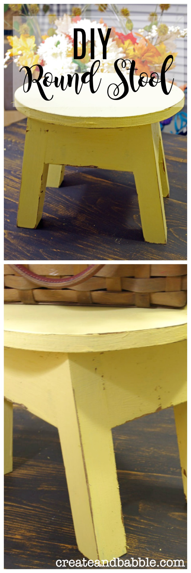 DIY Little Round Yellow Stool