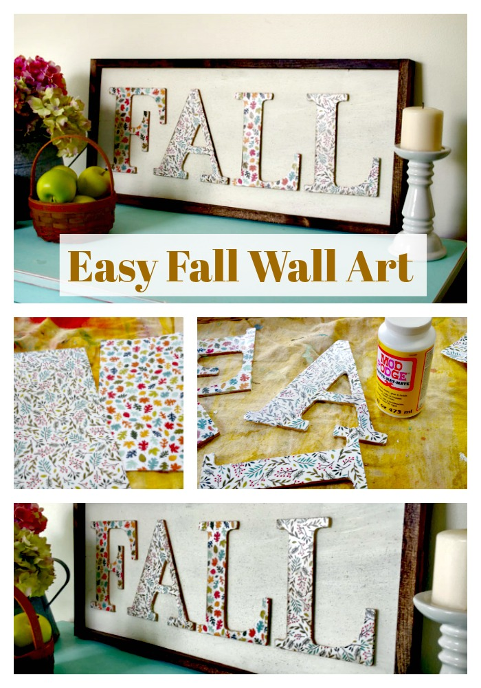 Easy DIY Fall Wall Art is made with wooden letters, scrapbook paper and mod podge