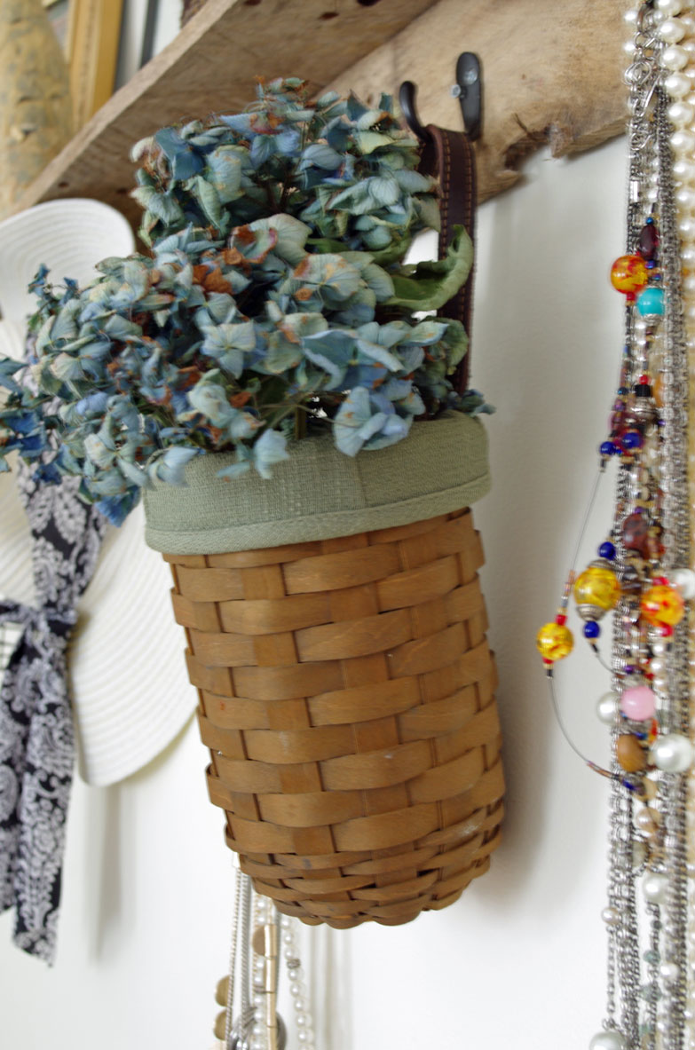 Fill baskets with dried hydrangea blooms