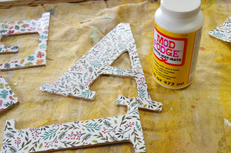 Decoupage wooden letters for fall wall art