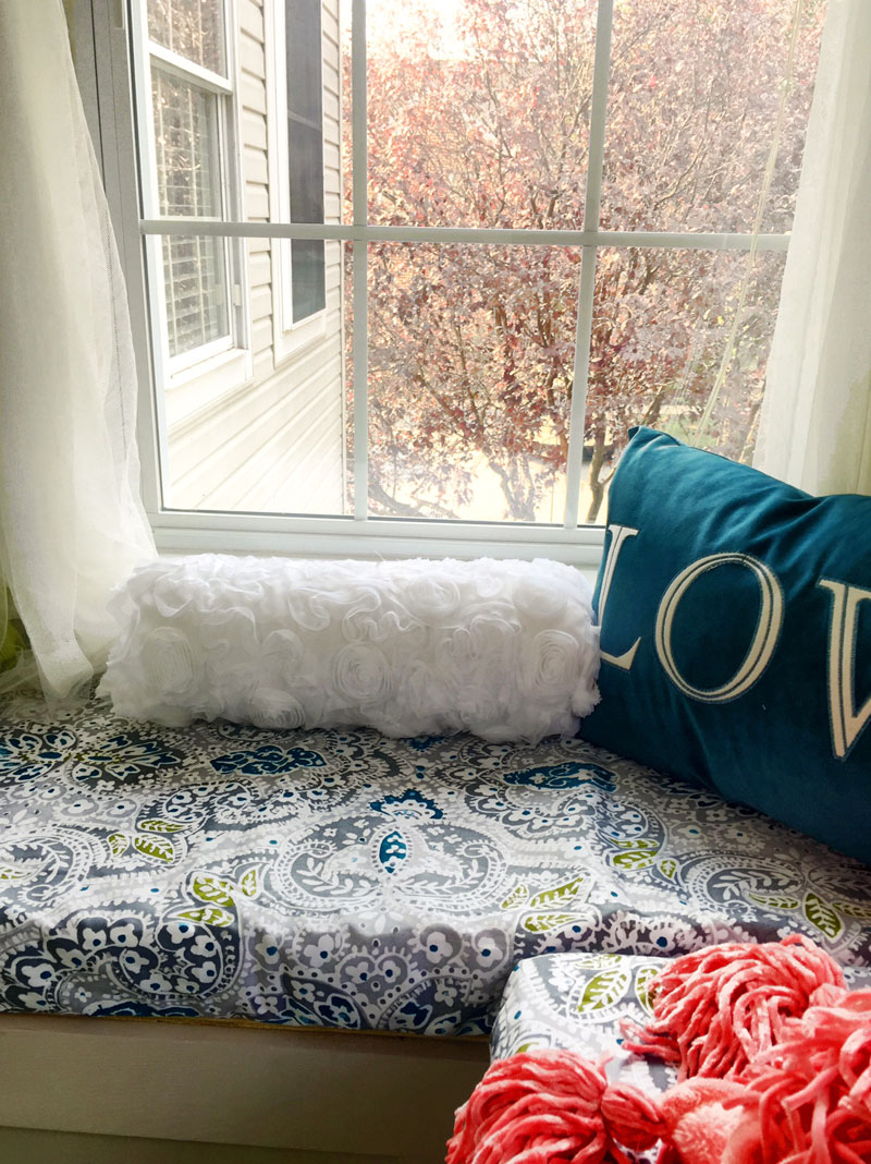 DIY L-shaped window seat with storage
