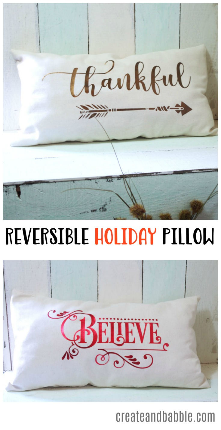 How to make a Reversible Holiday Pillow using Metallic Heat Transfer Vinyl
