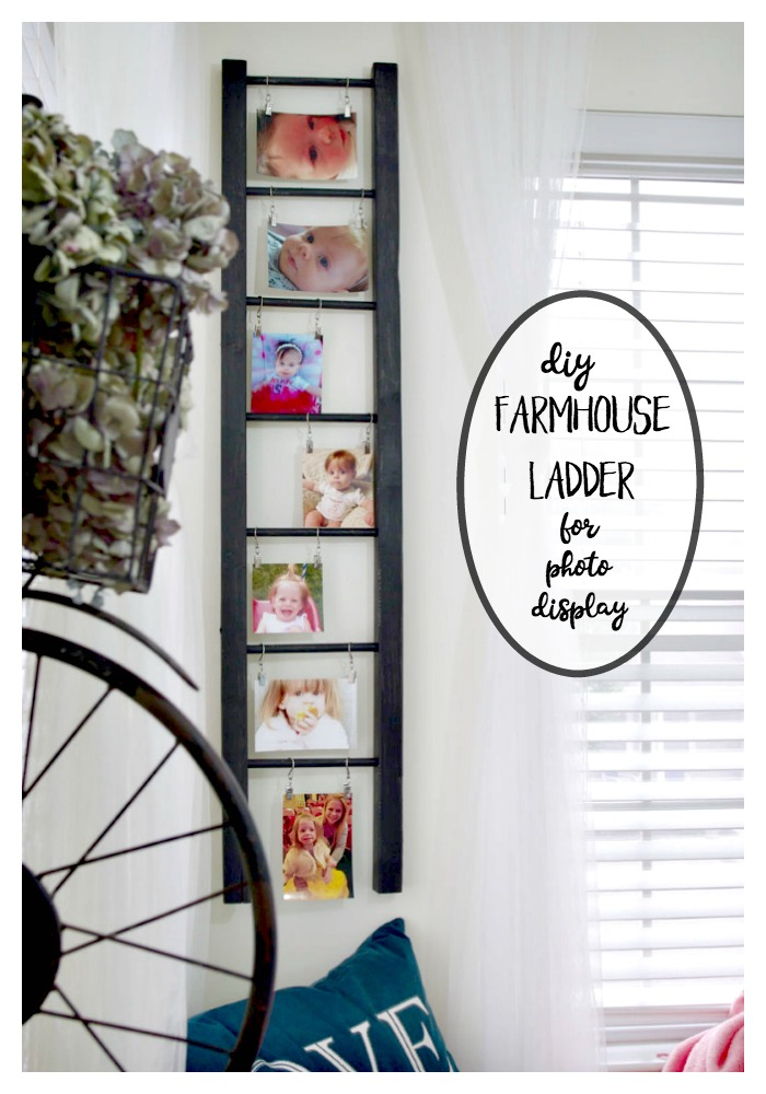 DIY FARMHOUSE LADDER FOR PHOTO DISPLAY