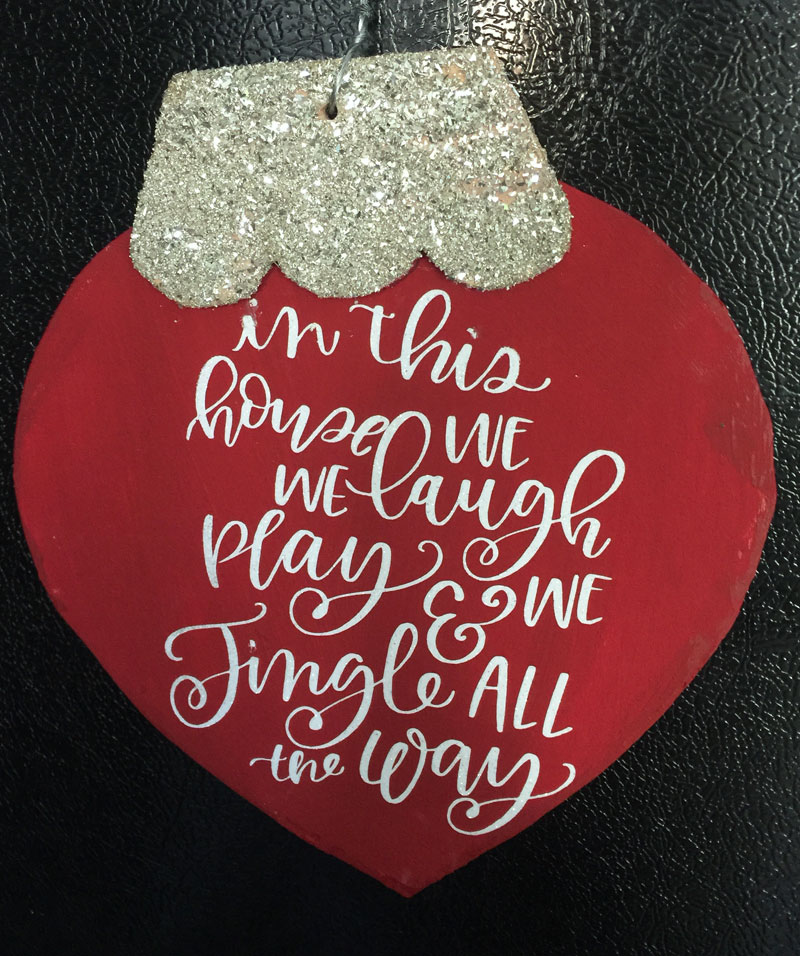 over sized wooden magnetic christmas ornament