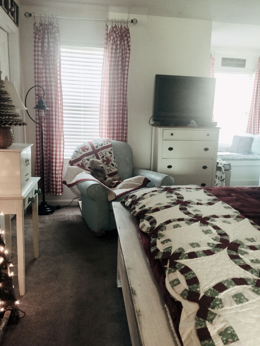 Master Bedroom Decorated for Christmas