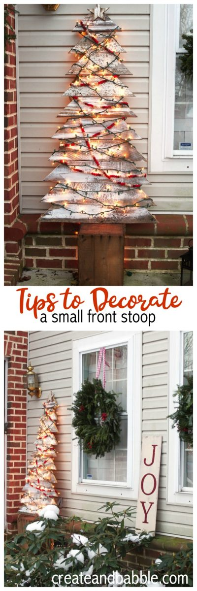 how to decorate a small front stoop for Christmas
