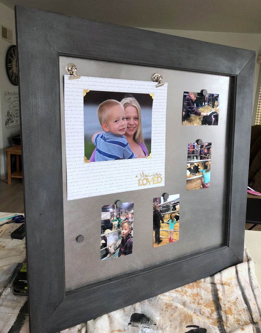 How to make a larage magnetic scrapbook page display with wooden frame