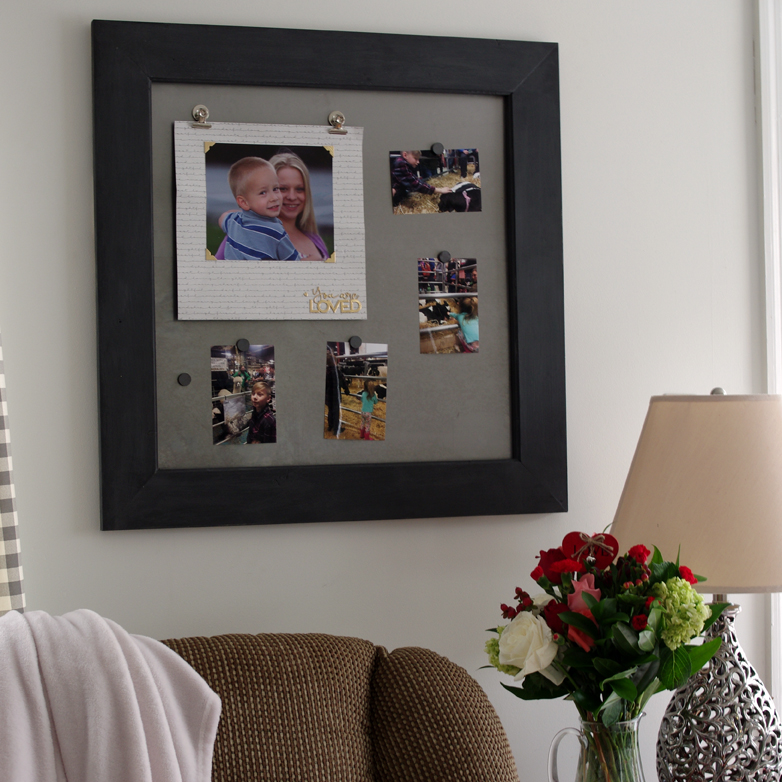How to make a large magnetic scrapbook page frame with sheet metal and wood