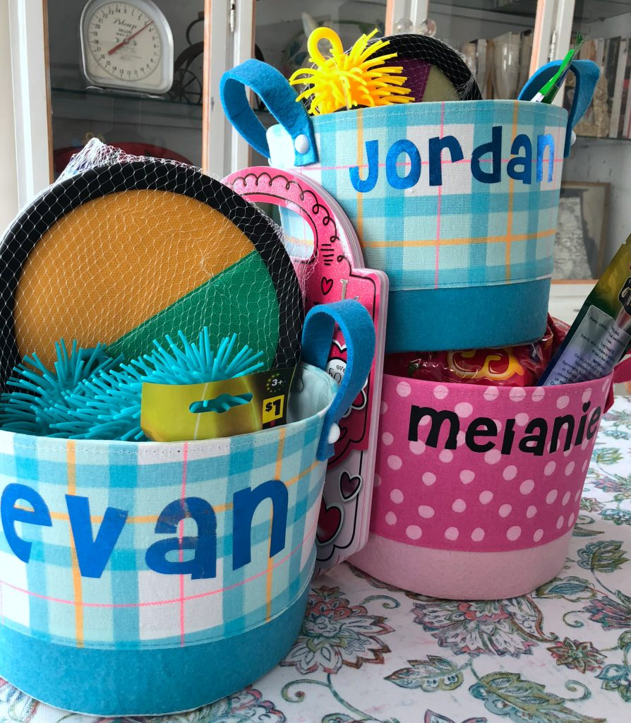 How to Personalize Easter Baskets with iron-on vinyl using your cricut or cameo