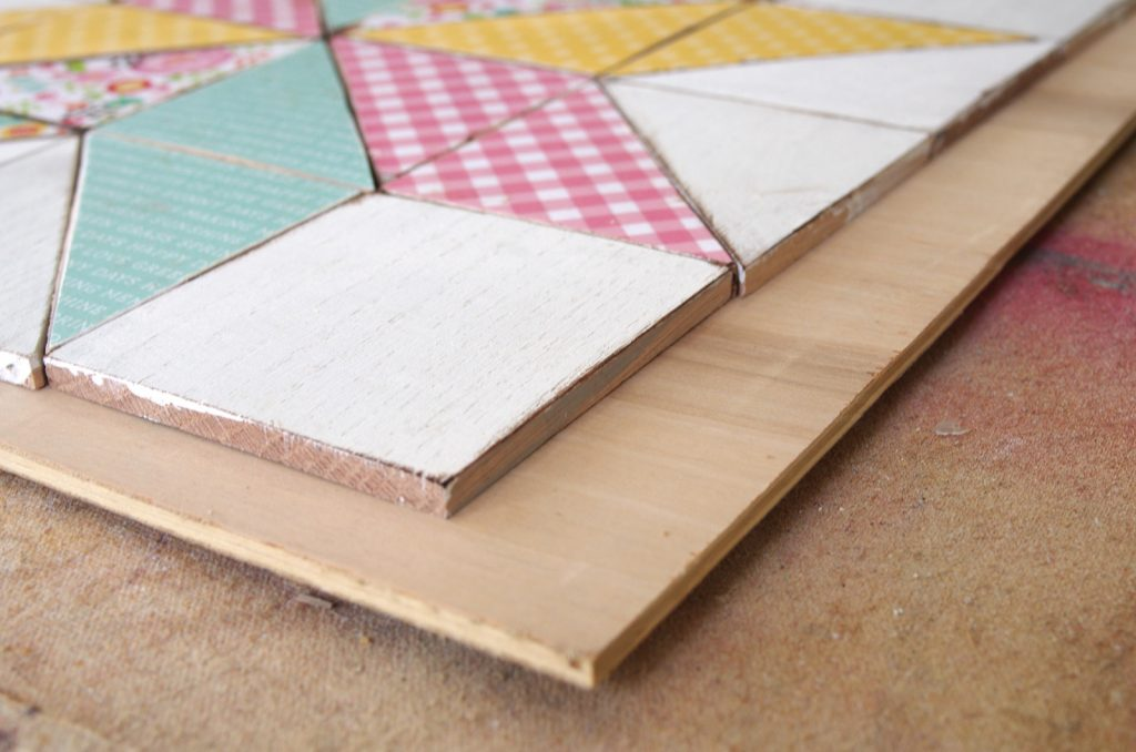 Steps to make a wooden quilt square wall hanging