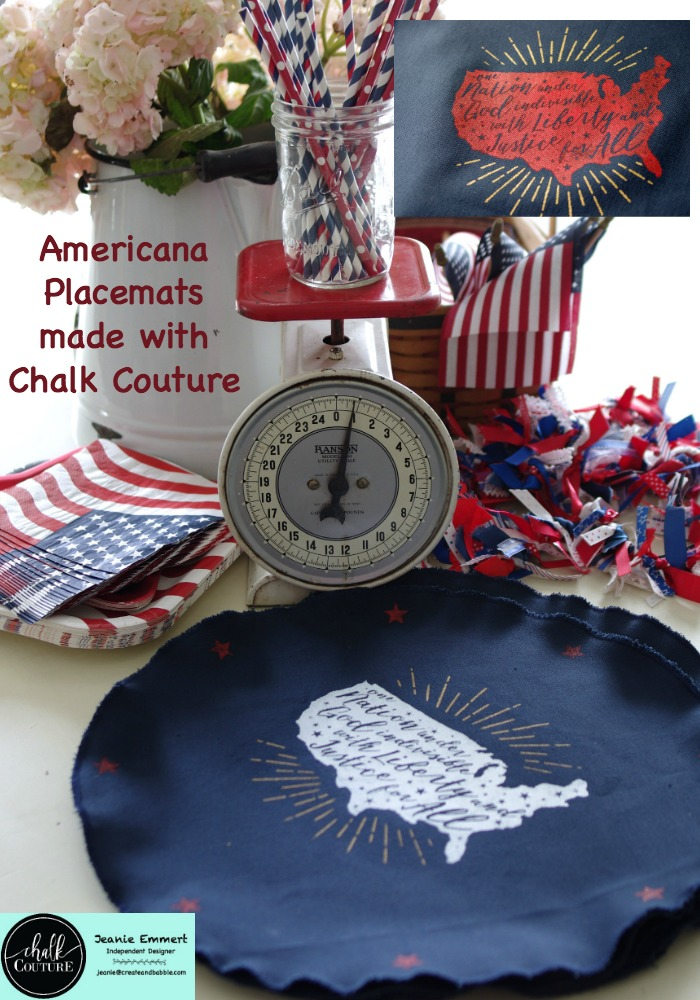 Americana Placemats made with Chalk Couture Transfer Liberty