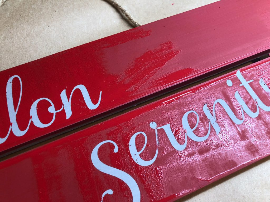 peel off the vinyl letters while the paint is still wet