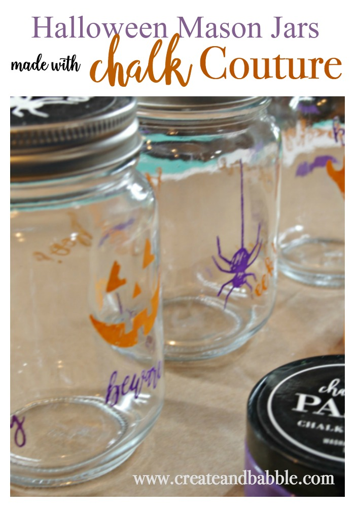 easy to make Halloween Mason jars using Chalk Couture