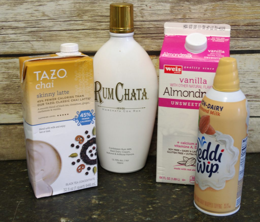 Ingredients to make RumChata Spiced Tea Latte