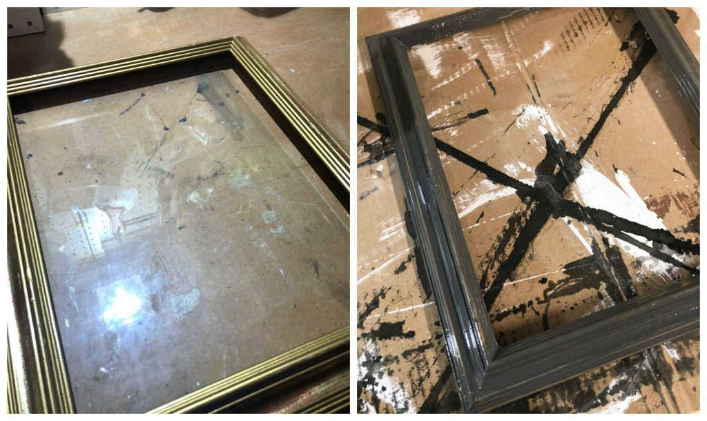 Before and after of thrift store picture frame