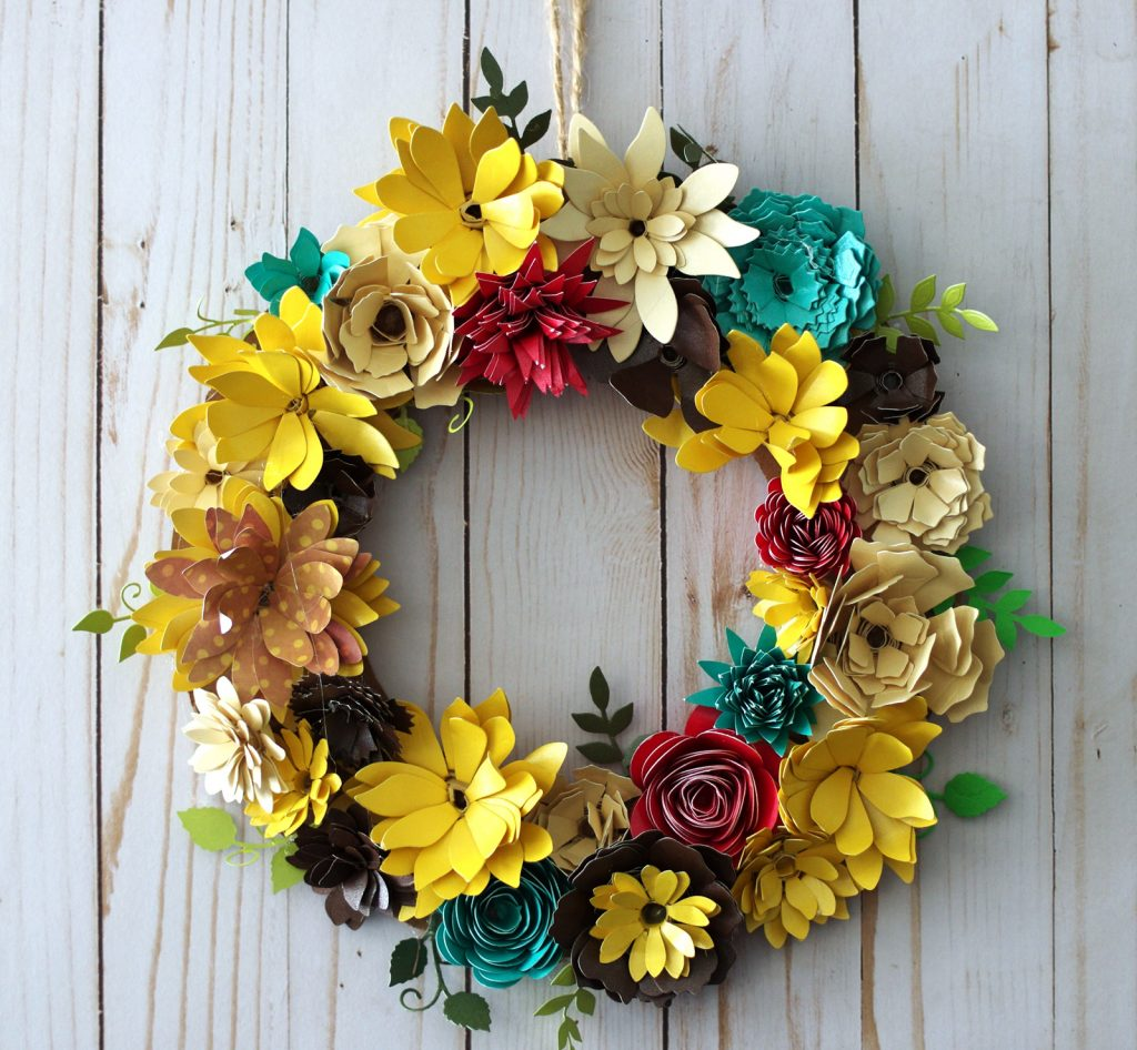 How To Make A Paper Flower Wreath For Fall With Gemini Die Cutting