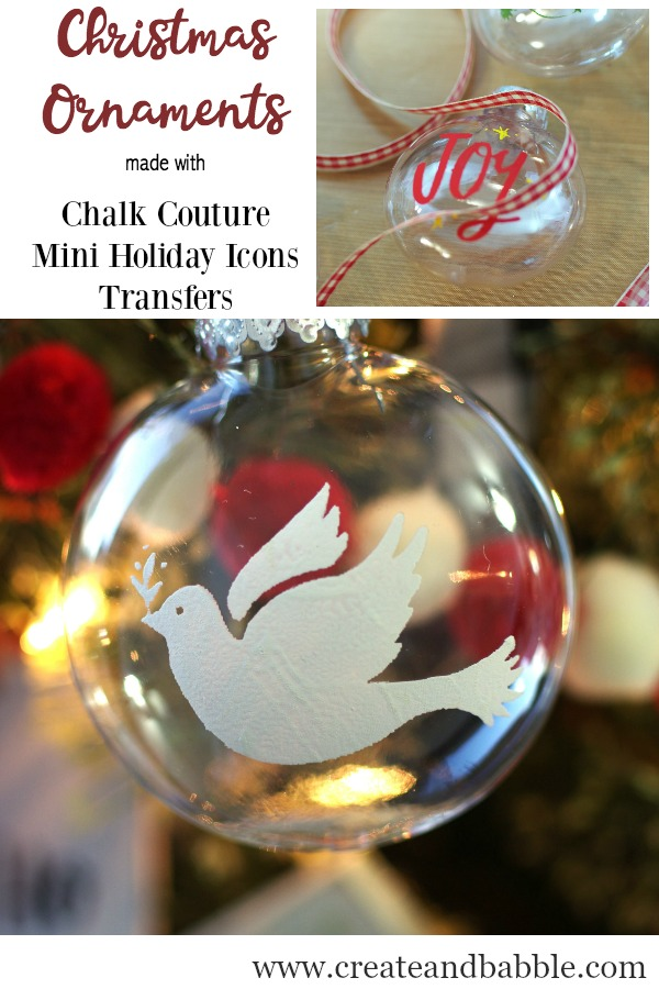 Christmas Ornaments made with Chalk Couture Mini Holiday Icons Transfer