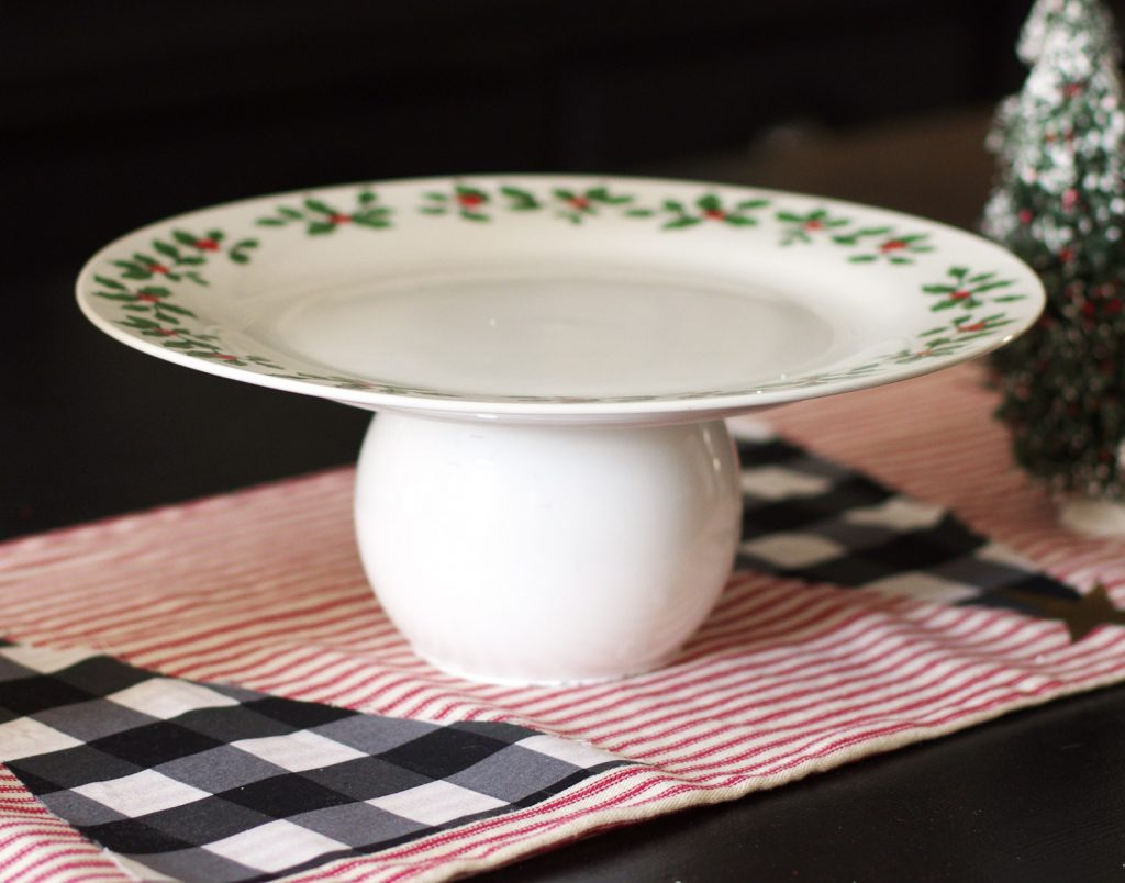 DIY Pedestal Plates made with items from Dollar Tree
