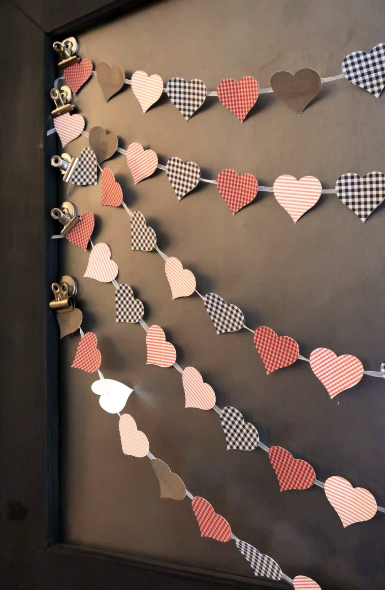 Print Then Cut Patterned Paper Heart Banner made with Cricut