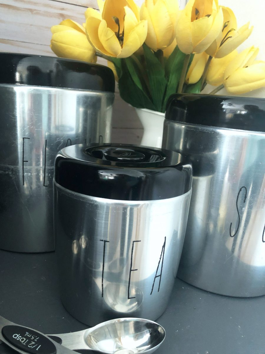 thrift store upcycled vintage canisters